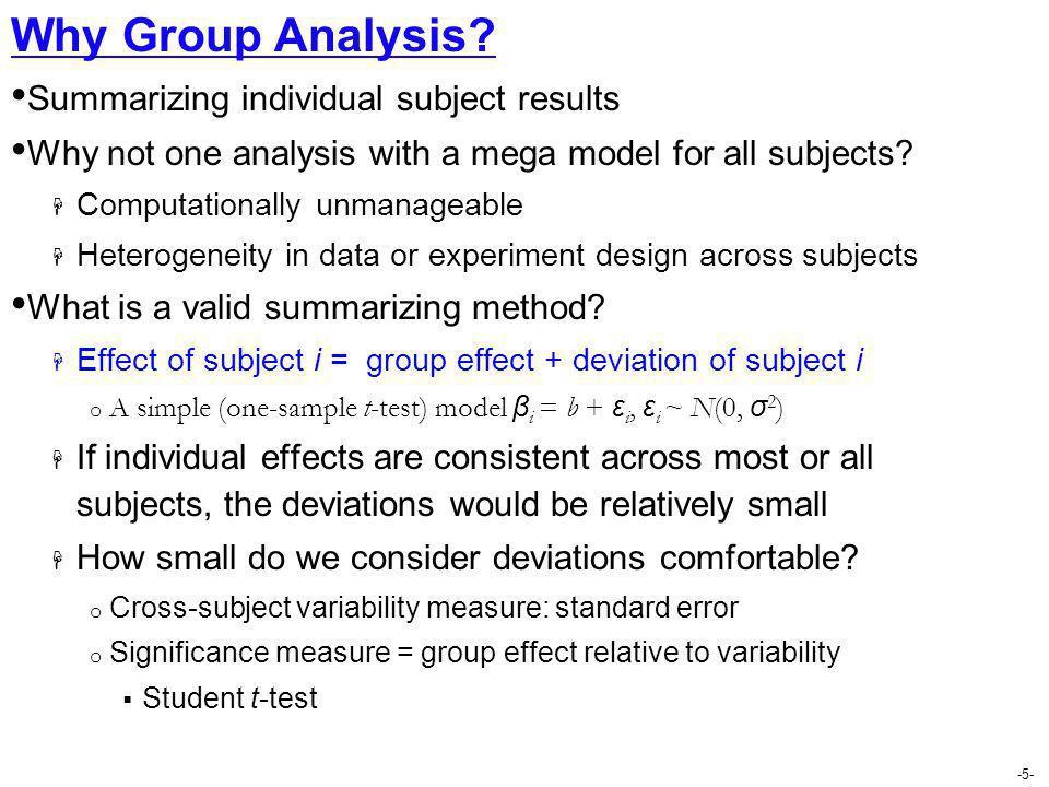 Why Group Analysis Summarizing individual subject results