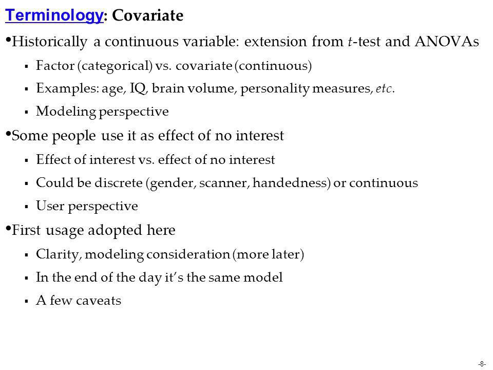 Terminology: Covariate