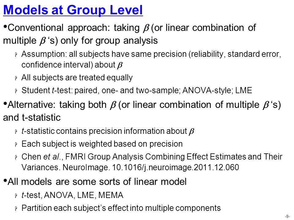 Models at Group Level Conventional approach: taking  (or linear combination of multiple  's) only for group analysis.