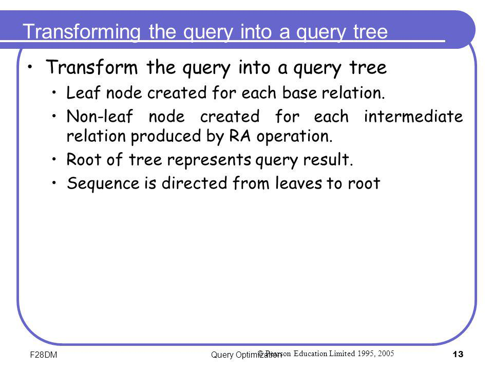 Transforming the query into a query tree