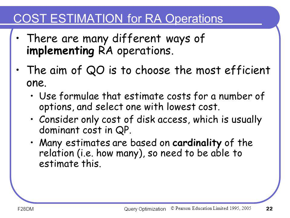 COST ESTIMATION for RA Operations