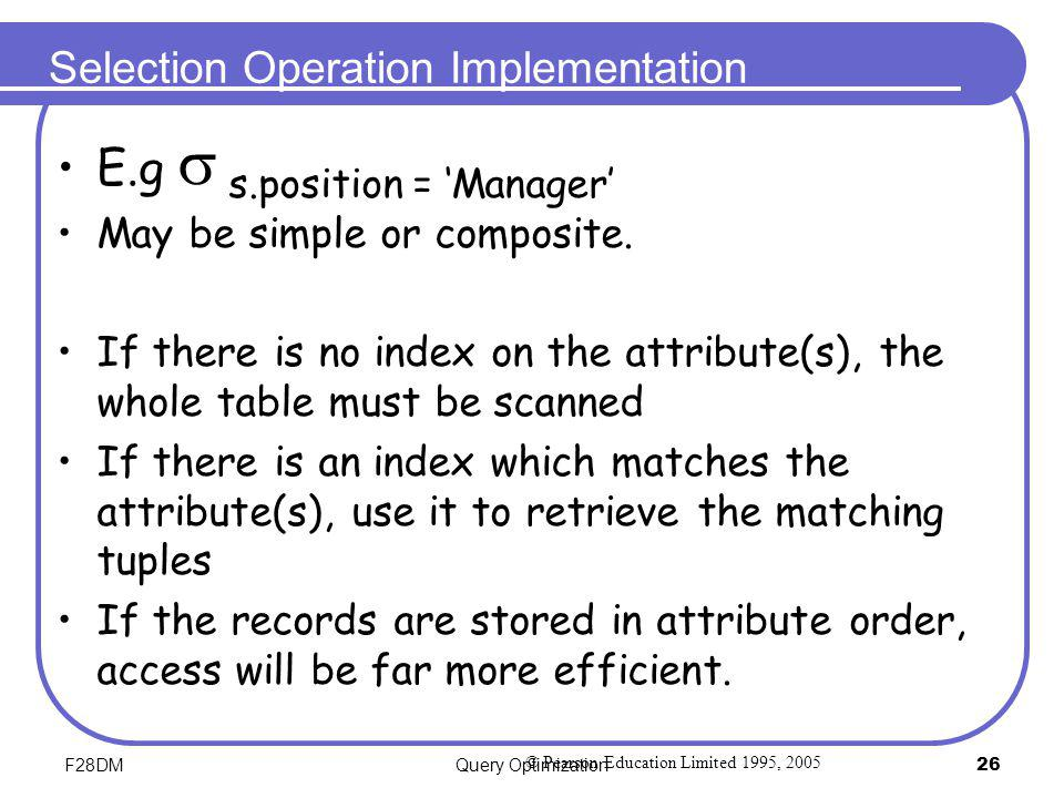Selection Operation Implementation