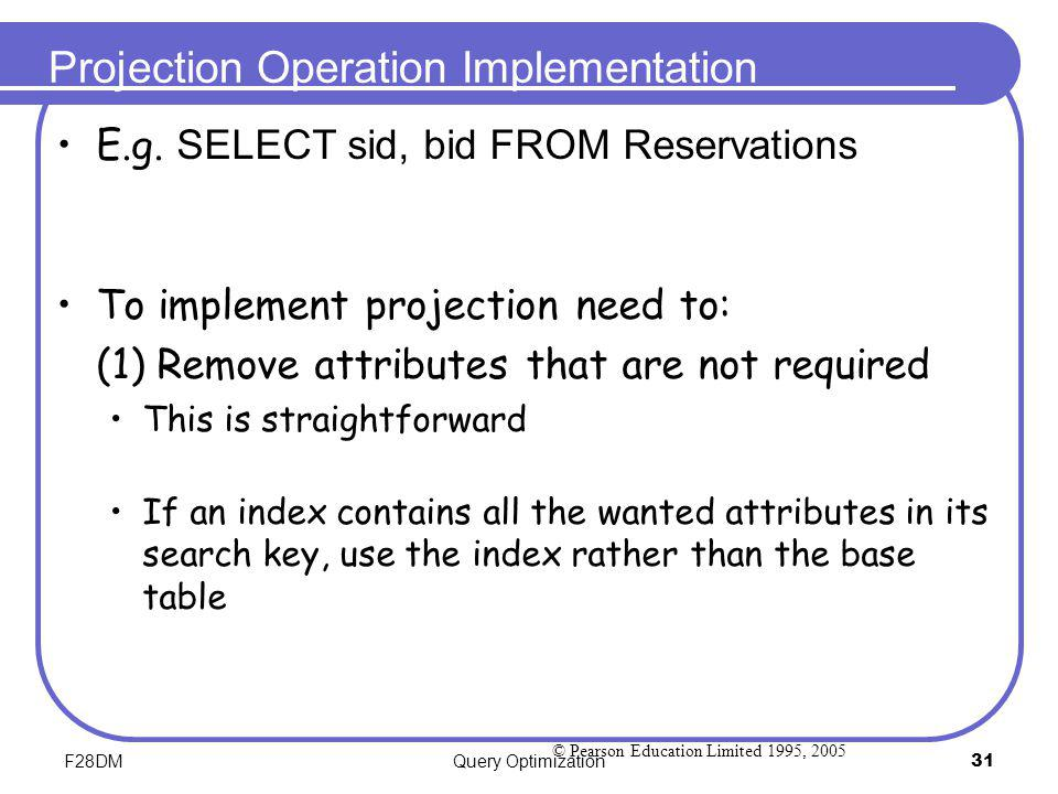 Projection Operation Implementation