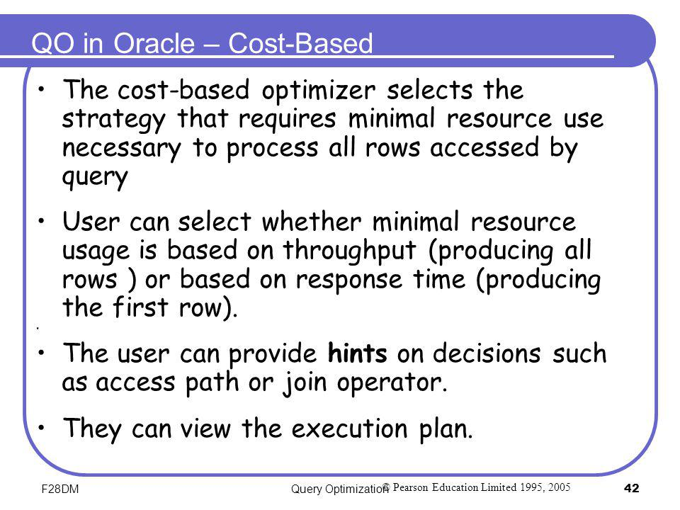 QO in Oracle – Cost-Based