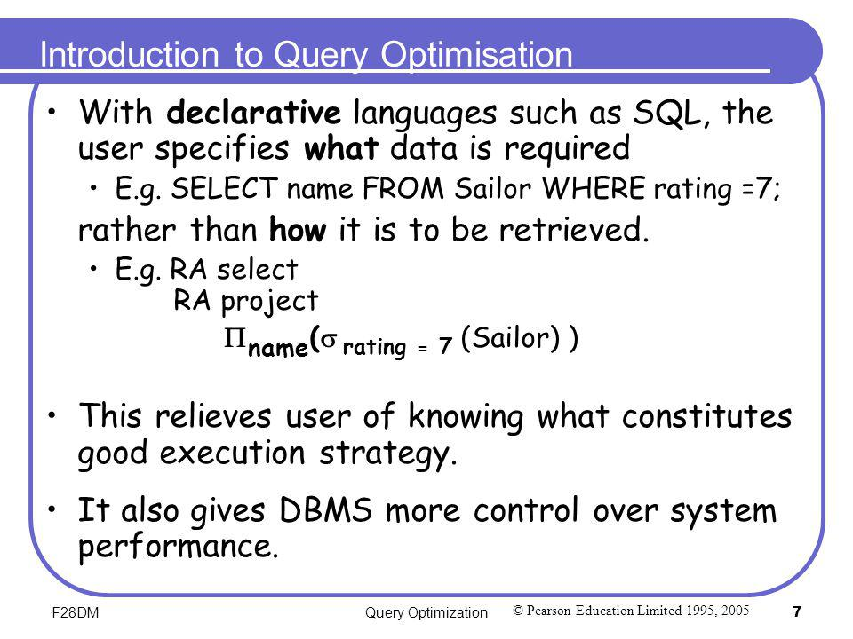 Introduction to Query Optimisation