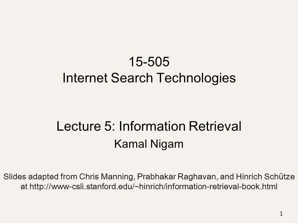 15-505 Internet Search Technologies