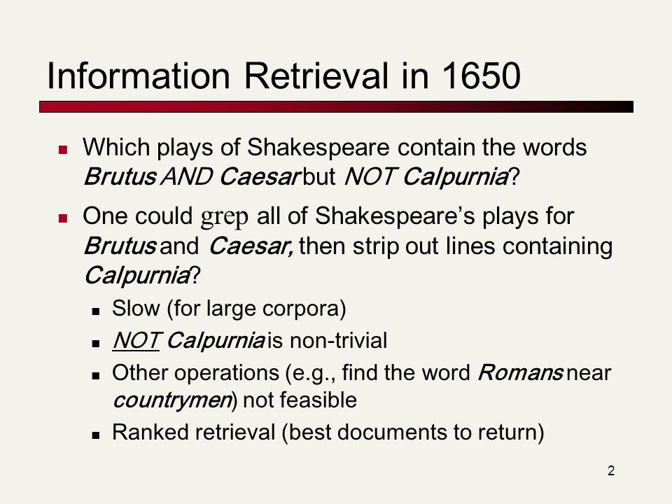 Information Retrieval in 1650