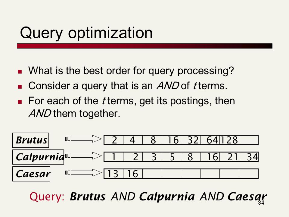 Query optimization Query: Brutus AND Calpurnia AND Caesar