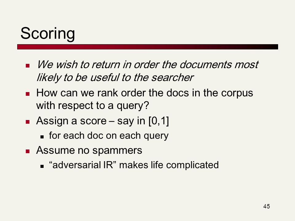 Scoring We wish to return in order the documents most likely to be useful to the searcher.