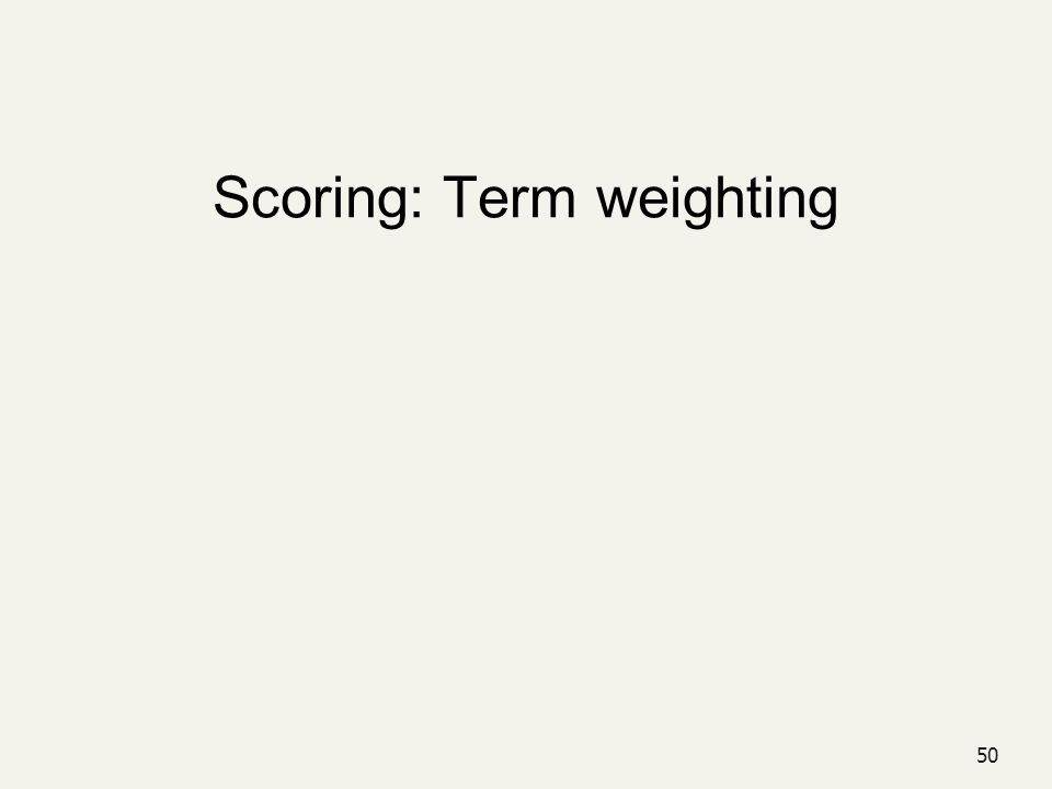 Scoring: Term weighting