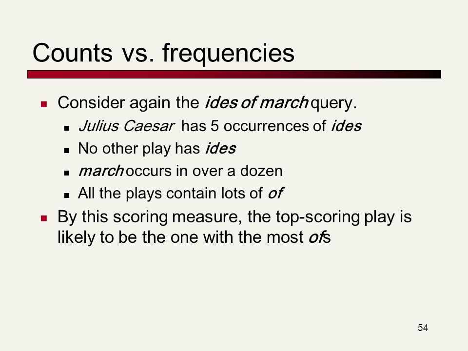 Counts vs. frequencies Consider again the ides of march query.