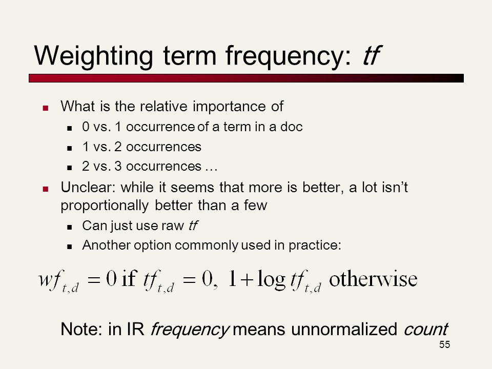 Weighting term frequency: tf