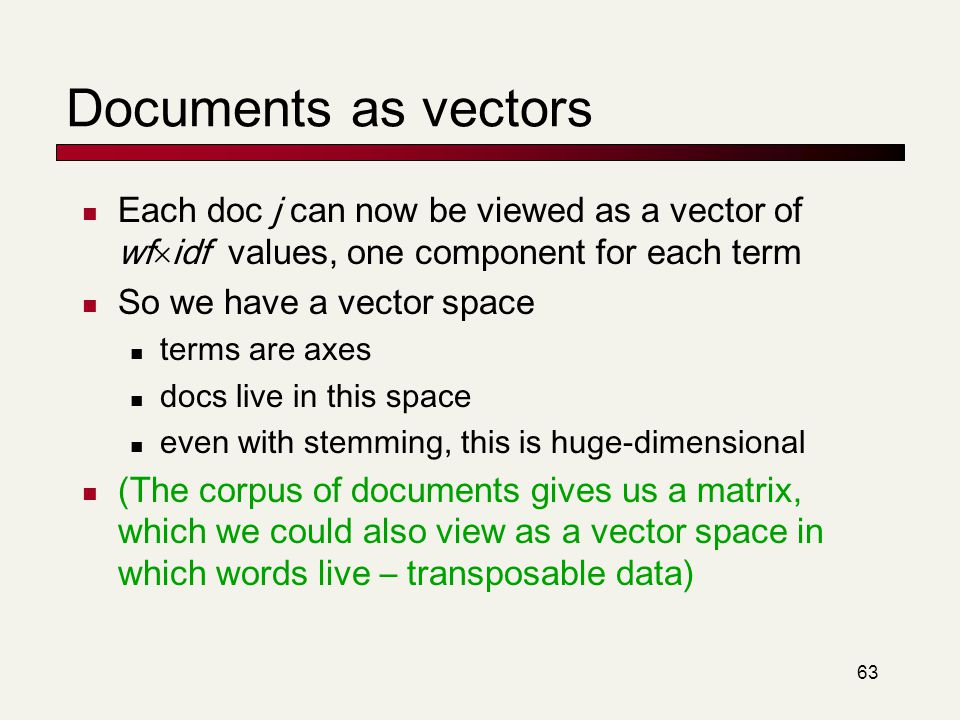 Documents as vectors Each doc j can now be viewed as a vector of wfidf values, one component for each term.