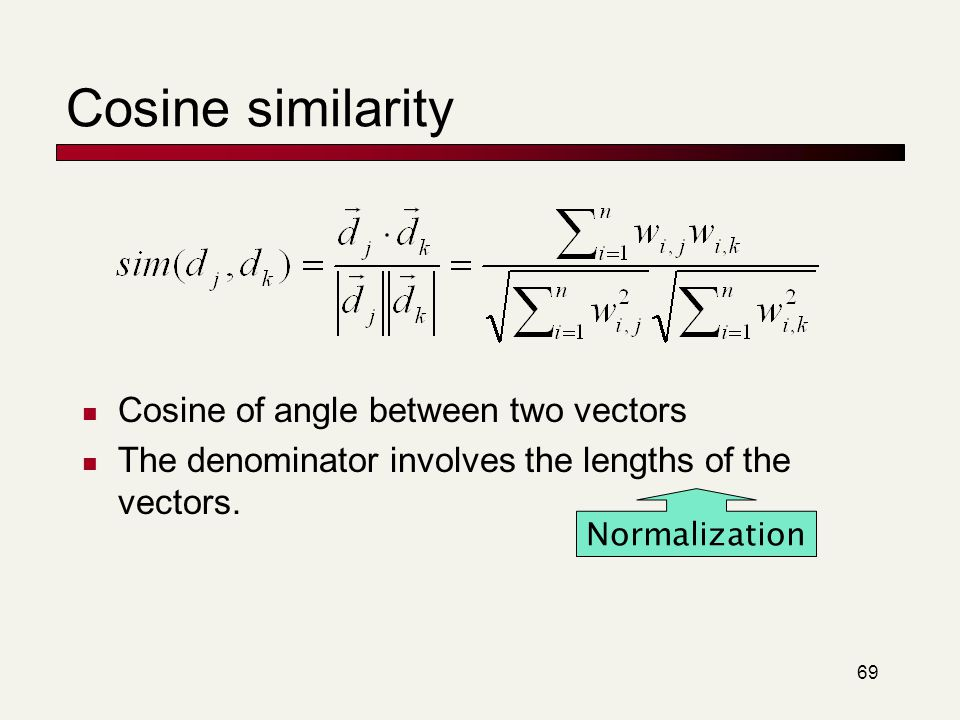 Cosine similarity Cosine of angle between two vectors