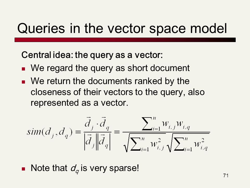 Queries in the vector space model
