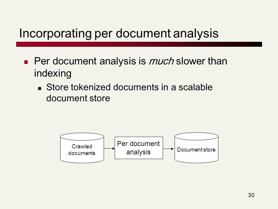 Incorporating per document analysis