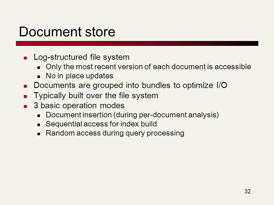 Document store Log-structured file system