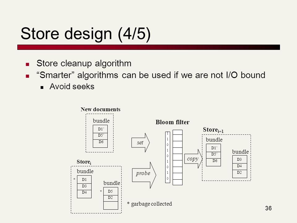 Store design (4/5) Store cleanup algorithm