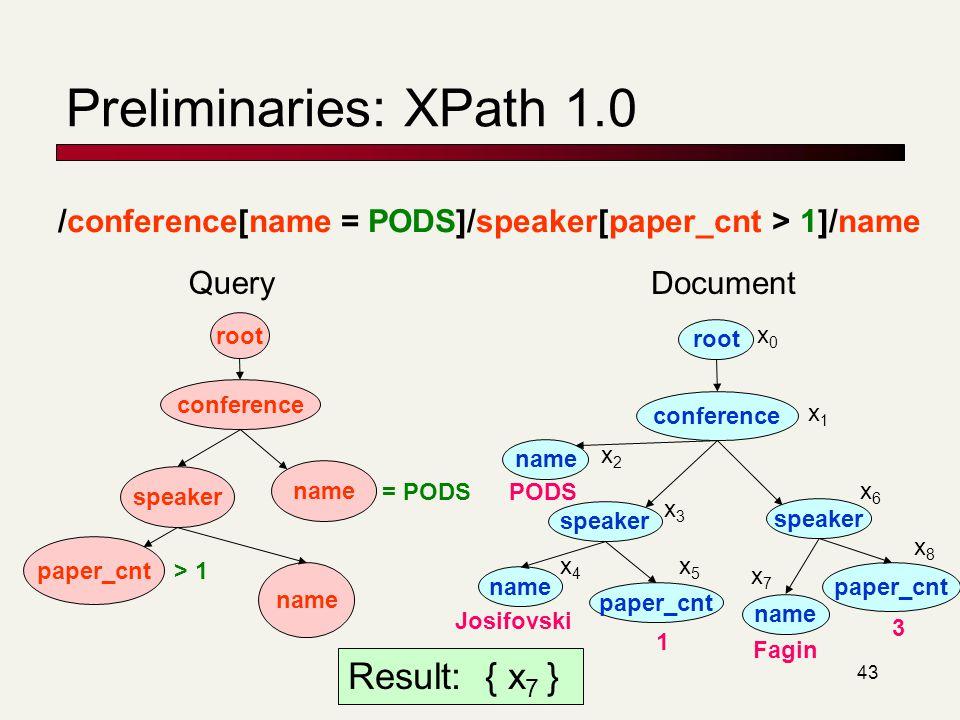 Preliminaries: XPath 1.0 Result: { x7 }