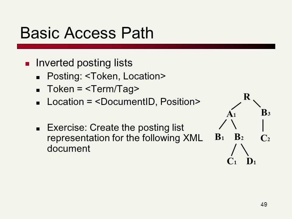 Basic Access Path Inverted posting lists