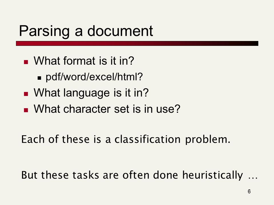 Parsing a document What format is it in What language is it in