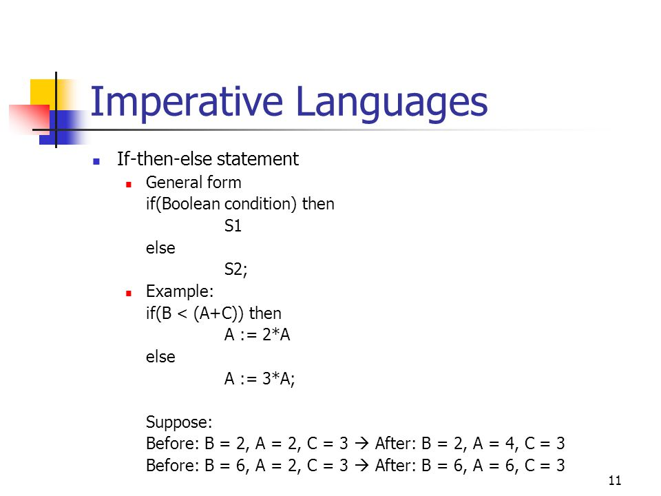 Imperative Languages If-then-else statement General form