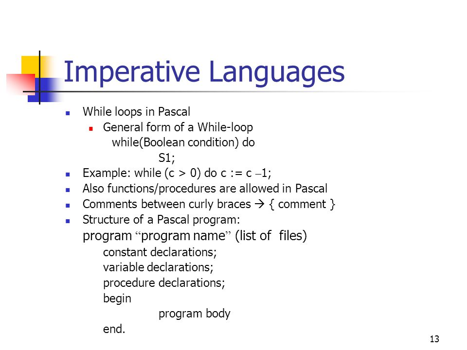 Imperative Languages While loops in Pascal