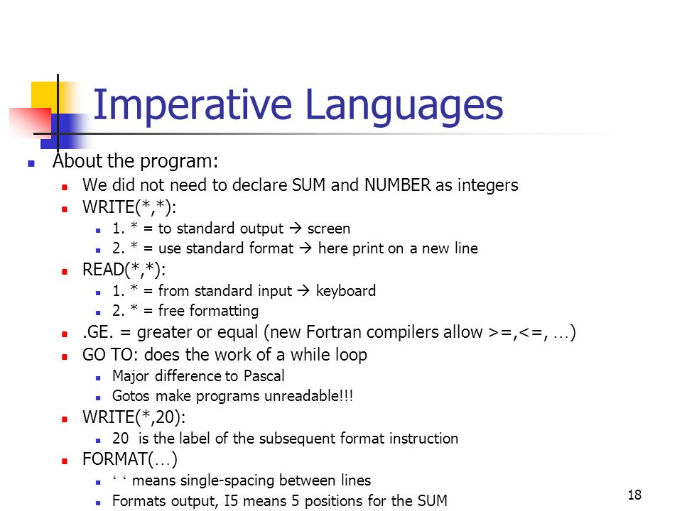 Imperative Languages About the program: