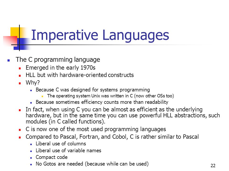 Imperative Languages The C programming language