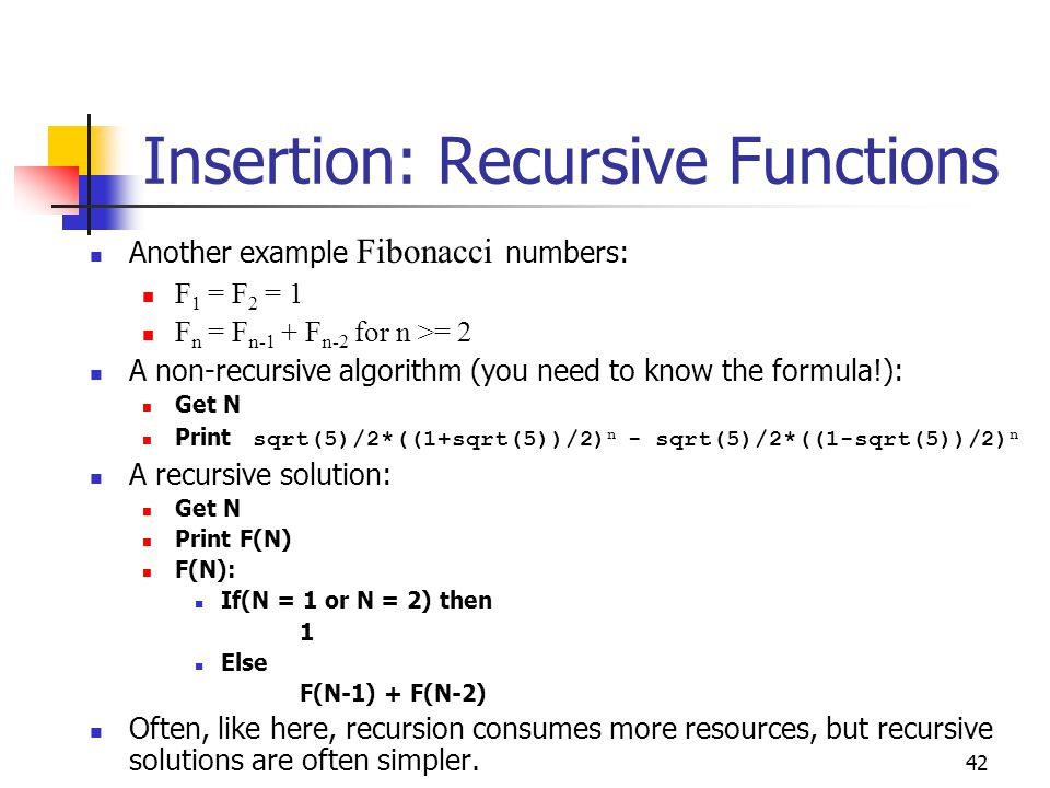 Insertion: Recursive Functions