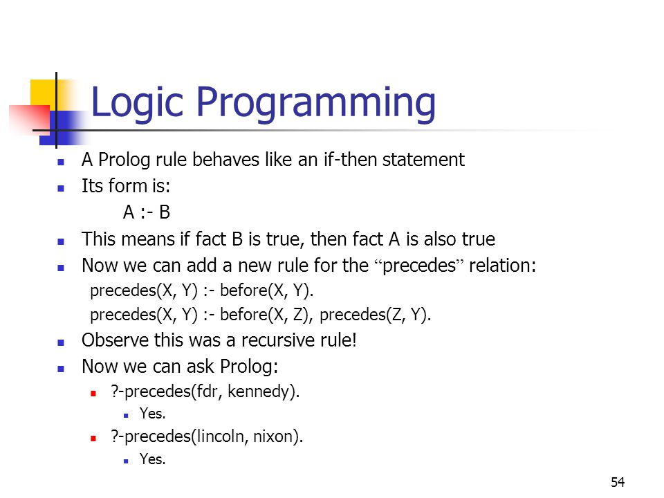 Logic Programming A Prolog rule behaves like an if-then statement