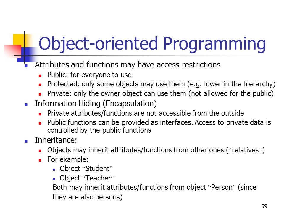 essay on object oriented programming Objects and classes: object is the smallest unit of object oriented programming language, which includes data and methods and it is the instance of the class, whereas class is the collection of objects and it is composed of three things include a name, attributes, and operations.
