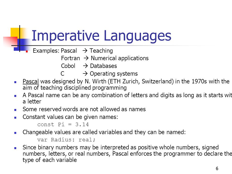 Imperative Languages Examples: Pascal  Teaching