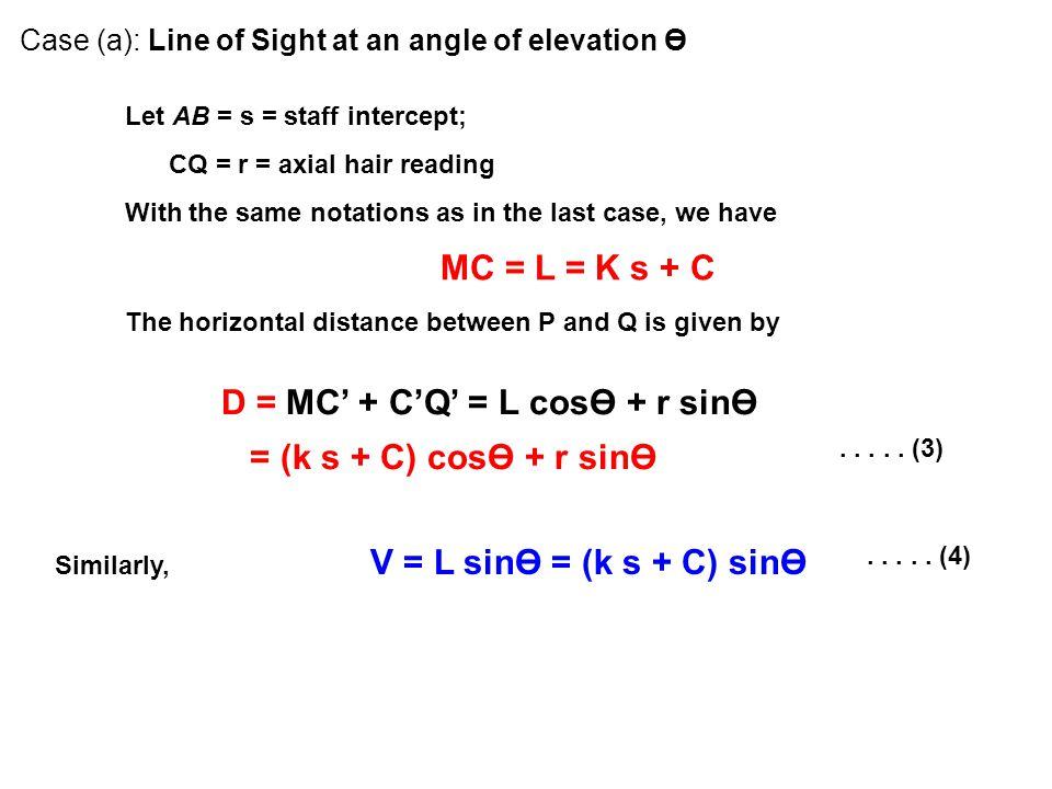 D = MC' + C'Q' = L cosӨ + r sinӨ = (k s + C) cosӨ + r sinӨ