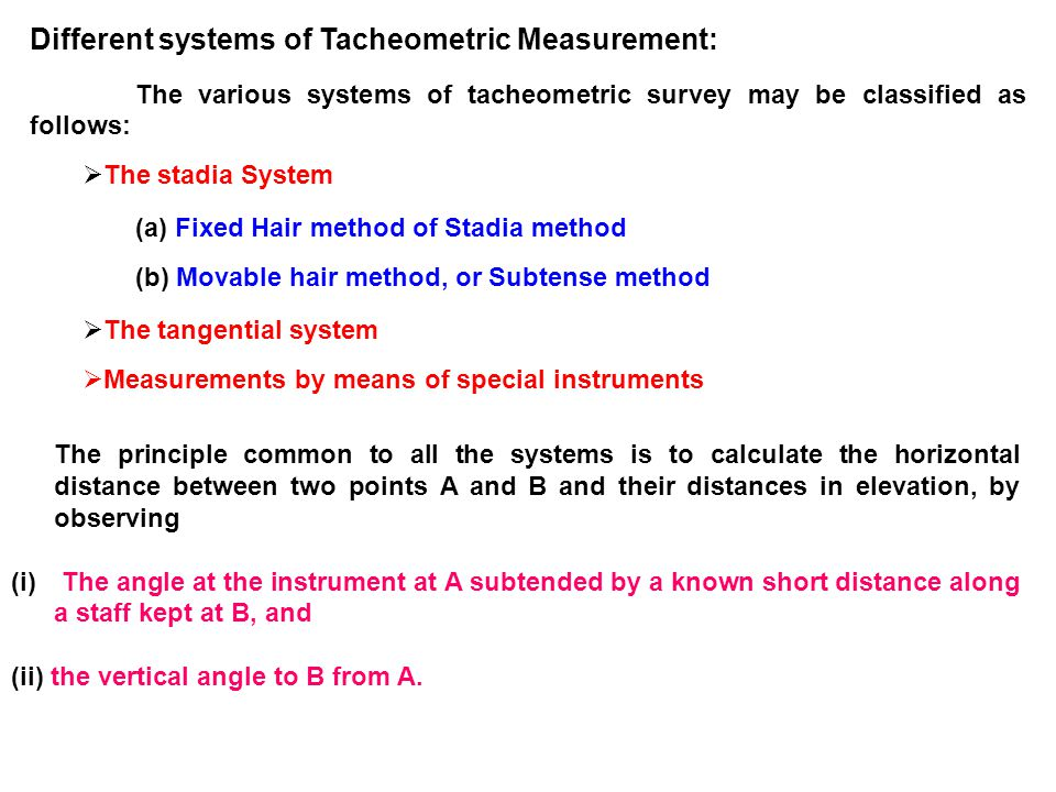Different systems of Tacheometric Measurement: