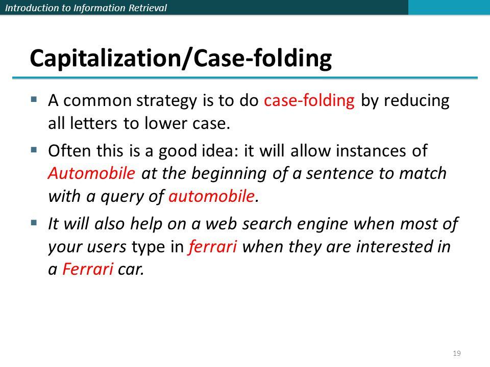 Capitalization/Case-folding