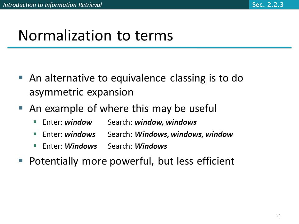 Normalization to terms