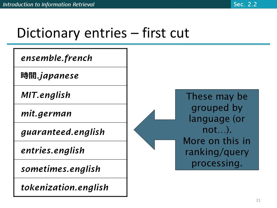 Dictionary entries – first cut