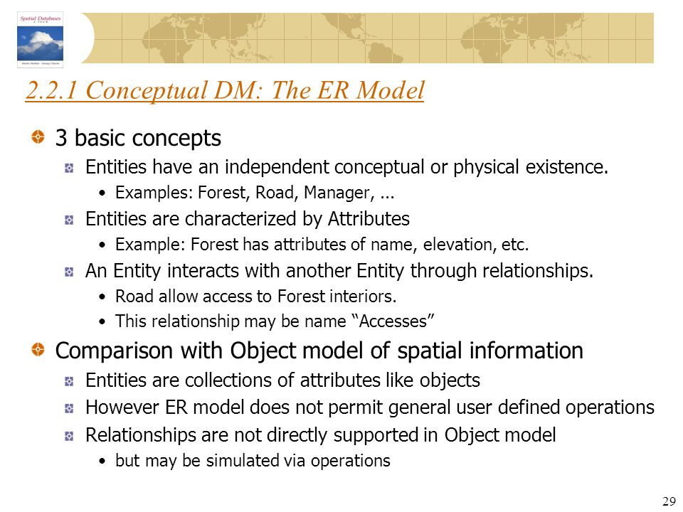 2.2.1 Conceptual DM: The ER Model
