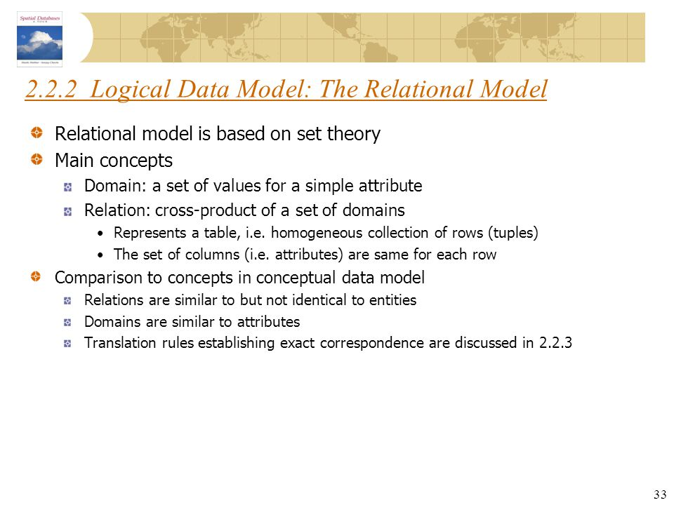 2.2.2 Logical Data Model: The Relational Model