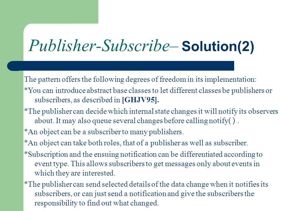 Publisher-Subscribe– Solution(2)