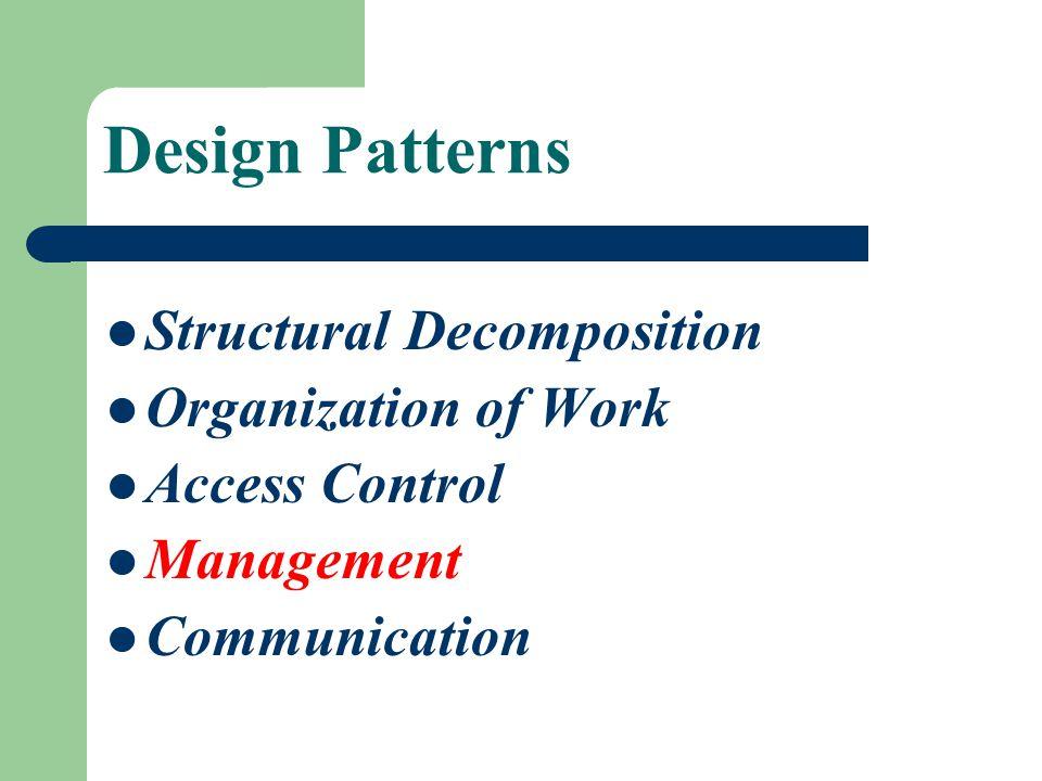 Design Patterns Structural Decomposition Organization of Work