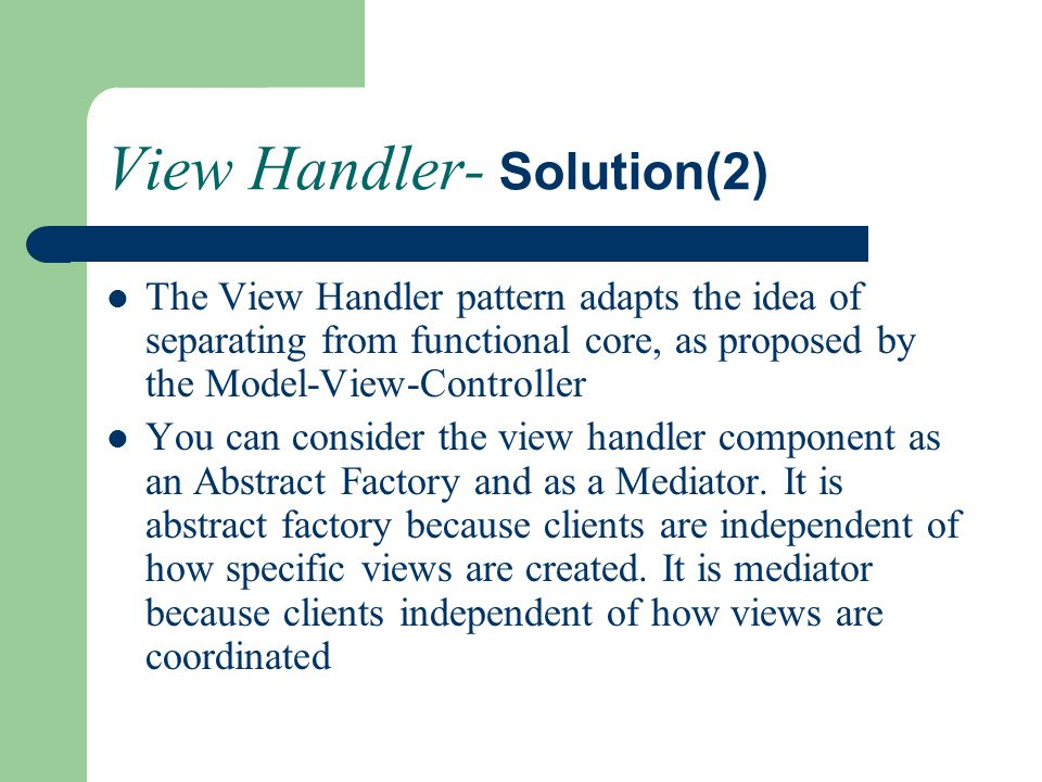 View Handler- Solution(2)