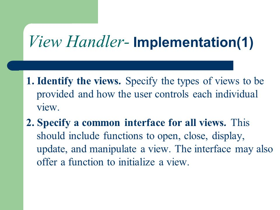 View Handler- Implementation(1)