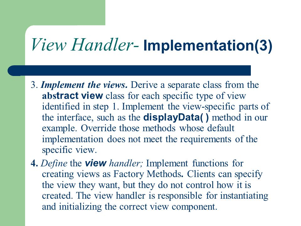 View Handler- Implementation(3)
