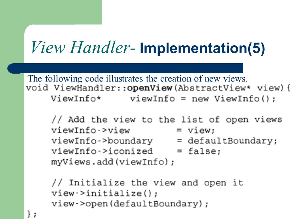 View Handler- Implementation(5)