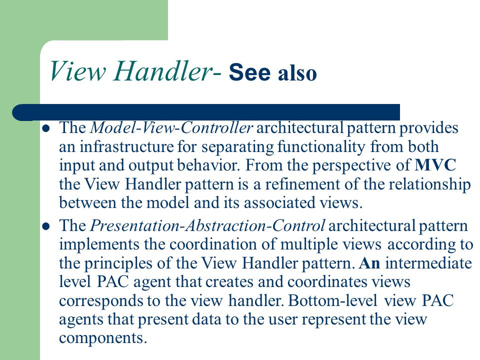 View Handler- See also