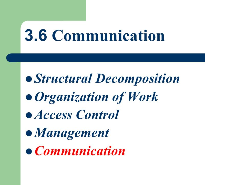 3.6 Communication Structural Decomposition Organization of Work
