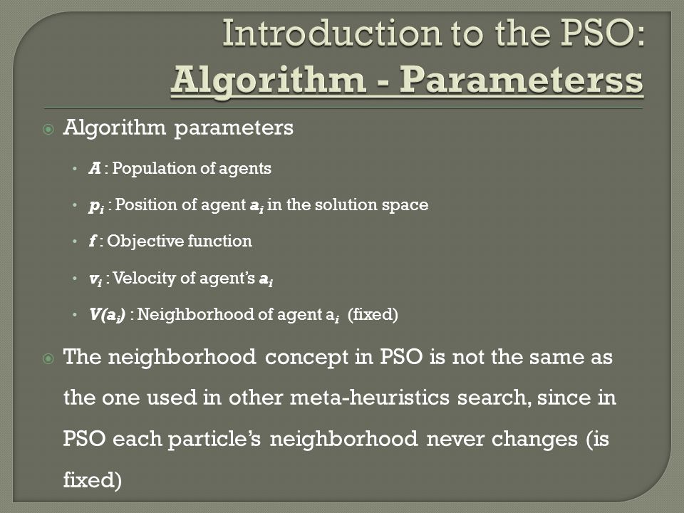 Introduction to the PSO: Algorithm - Parameterss