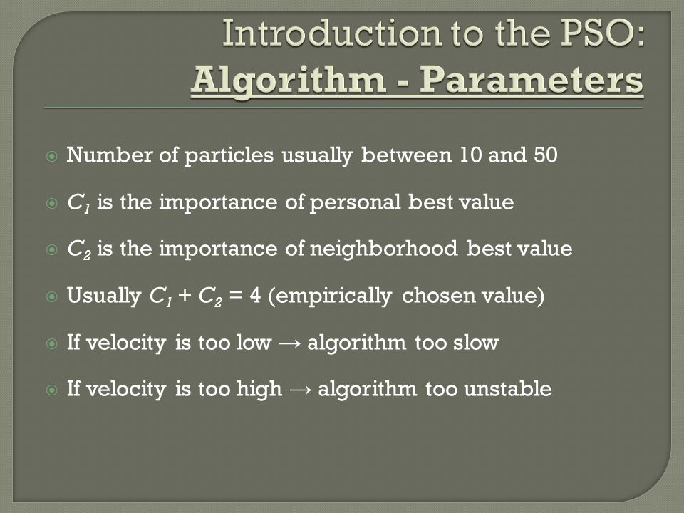 Introduction to the PSO: Algorithm - Parameters